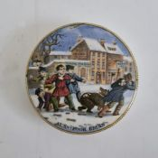 Pot lid'Alas! Poor Bruin' decorated with children throwing snowballs with school for boys and '