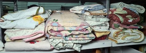 Large quantity of various patchwork quilts of various sizes, colours and assorted table linen (1 1/2