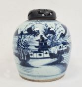 Chinese blue and white ginger jar, ovoid and painted in underglaze blue with lakeside landscape