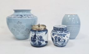 Wedgwood Interiors earthenware blue glazed vase, transfer printed with leaves and flowerheads,