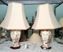 Pair of Chinese-style patterned octagonal ceramic table lamps and shades from BHS (2)