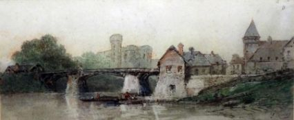 """Paul Marny (1829-1914) Watercolour """"Normandy"""", signed lower right, 15cm x 34cm Eyres Simmons ("""