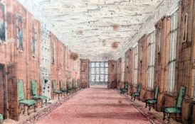 Late 19th/early 20th century English school Set of four miniature watercolour drawings Interior