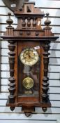 20th century mahogany wall Vienna regulator-style clockwith brass and enamel-effect dial, Roman