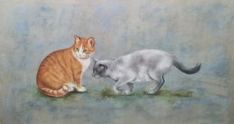 Playfair Pastel drawing Two cats, signed and dated 93, 32.5cm x 57.5cm