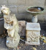 Reconstituted stone items including cast figure of a lady, circular birdbath, etc