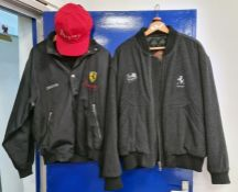 Cerruti limited edition Ferrari Aspray Collaboration black jacket,a red Aspray cap and a Hugo