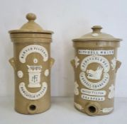 Two stoneware water filters, one labelled 'Mitchell White Removable Crystal Charcoal Water Filter,