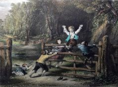 After W Collins Colour prints C Cousen Engraver, The Woodland Gate and The Prawn Fishers, both