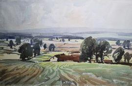 "Aubrey R Phillips Watercolour ""June"", landscape near Burford, signed and labelled verso, 34cm x 53cm"
