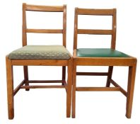 Set of four 20th century oak framed utility furniture chairs and two similar (6)