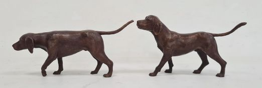 Pair of bronze foxhounds, unattributed, 8cm high (2)