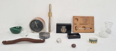 Short & Mason teak circular barometerwith wine thermometer in wooden case, two glass miniature