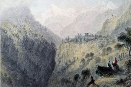 After W H Bartlett Colour prints Scene in the valley in St Nicholas, Monte Rosa and The Cervin After