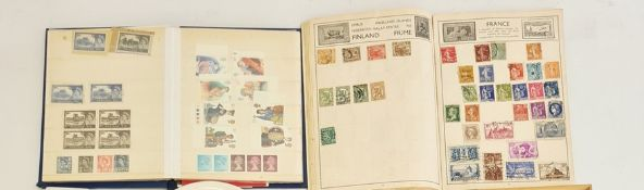 Two stamp albums and quantity of loose stamps, to include Victorian penny red stamps, two penny blue