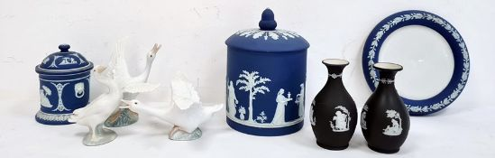 Set of three various Lladro porcelain geese,a Wedgwood blue and white jasperware dish and cover,