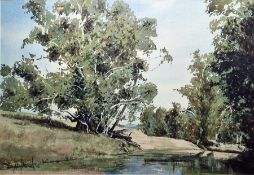 Watercolour drawing Woodland pool, signed indistinctly 'B With...' and dated 02, 35.5cm x 53cm