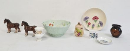 Beswick green pottery bowl, green glazed and incised with floral sprays to interior, a Radlord