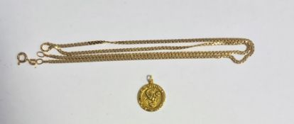 9ct gold chain, 4g and a 9ct gold circular Scorpio pendant(2)