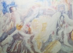 """Blair Hughes-Stanton (1902-1981) Watercolour drawing """"Battle Before the Gate"""", heavenly figures"""