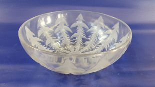 """Lalique satin and clear glass 'Pissenlit' pattern bowl, internally embossed """"R.LALIQUE, FRANCE"""","""