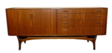 20th century Greaves & Thomas sideboard with four graduating drawers and cupboards, on stylised