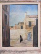 P Blackmon (20th century school) Oil on board Lady feeding chickens in Mediterranean street,