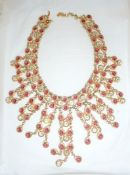 Christian Dior gold-coloured necklace collarette with hanging drops set with red and white
