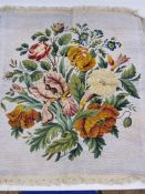 Mid 20th century beaded and tapestry cushion/seat cover decorated with flowers 65 x 63 cms and
