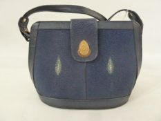 Vintage stingray skin and leather handbag labelled 'Andaman' with gold-coloured fittings and