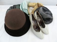Various Sandra Phillips raw silk and other hats and a pair of Charles Jourdan pale grey court