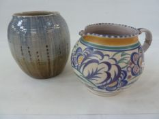 A Scottish studio pottery vase in blue and grey, marked to base 'Lochhead Kirkcudbright' and a large