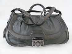 Celine leather bag with single carry handle and detachable shoulder strap, metal fastenings,