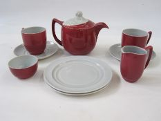 Branksome China, England tete a tetecomprising of teapot, milk jug, sugar bowl, two cups, saucers