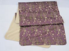 Victorian silk stole, padded, purple, decorated with leaves in green and sprays of cream flowers,