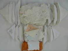 Large selection of embroidered and white-work and lace handkerchiefs, a selection of crocheted items
