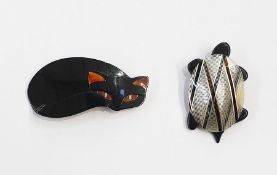 Lea Stein cat brooch, black with faux tortoiseshell eyes and ears and a Leichstein tortoise brooch