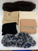 Faux-fur twist scarf labelled Georgina Von Etzdorf, a wool scarf labelled Seeberger, another