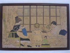 Early 20th century school Watercolour Children's nursery scene, initialled 'H E D' lower right