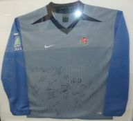 Rugby World Cup 2003 away shirtwith team signatures, framed, 80cm x 90cm