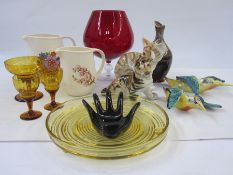 Two Beswick pottery woodpeckers, a USSR model tiger, a USSR model cat, a 20th century glass and