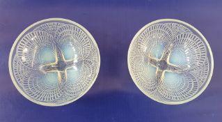 Set of seven Lalique opalescent glass 'Coquilles' pattern glass dessert bowls, stencilled mark 'R