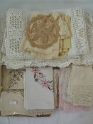 Quantity of assorted table linen, mainly crocheted, to include tablecloths, mats, etc (1 box)