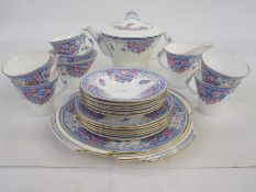 Royal Albert tea service, for six, with angular handles, teapot and bread and butter plates,