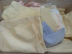 Large quantity of assorted table linen and bed linen to include a large length of cream silk (1box)