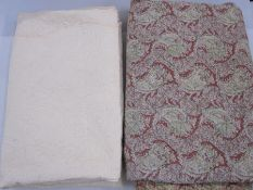 Vintage style paisley patterned quilt, double,  in red, green and beige and another cream-coloured