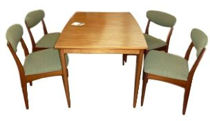 Greaves & Thomas rectangular teak extending dining table, model no 5015 with label, 114.5cm