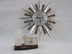 Metamec quartz sunburst-style wall clock in silver-coloured metal and wood-effect plastic rays, 60.