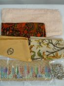Various fabric samples, embroideries, textile pieces, sequinned pieces, etc (1 box)