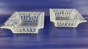 Pair of Lalique square dishes with flared rims, the sides decorated with roses, on a trellis